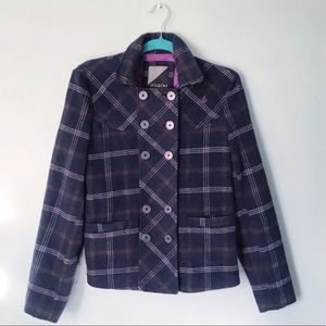Volcom Wool Blend Plaid Pea Coat Size M